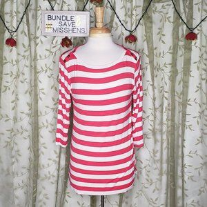 LOVEAPPALLA DARK PINK WHITE CANDY CANE STRIPE TOP